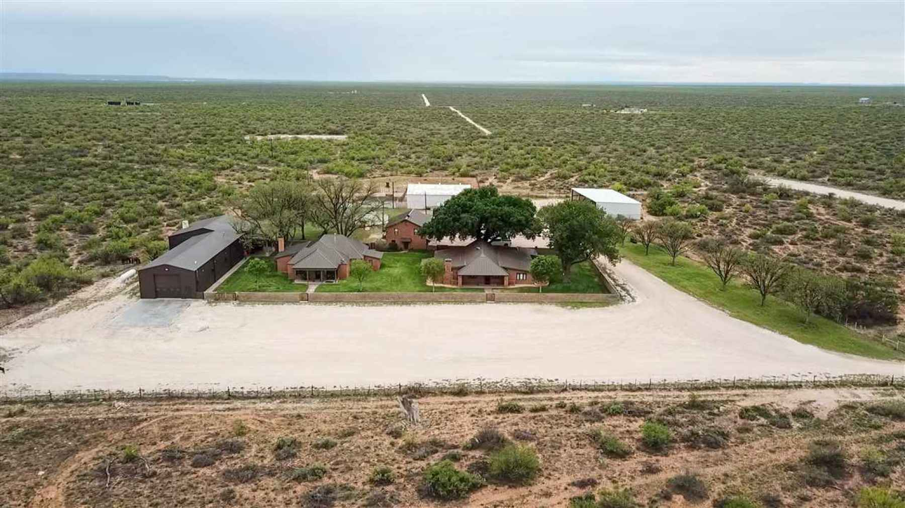 Consists of two house, large RV port and trophy room, and a garage apartment, plus barn/equipment.