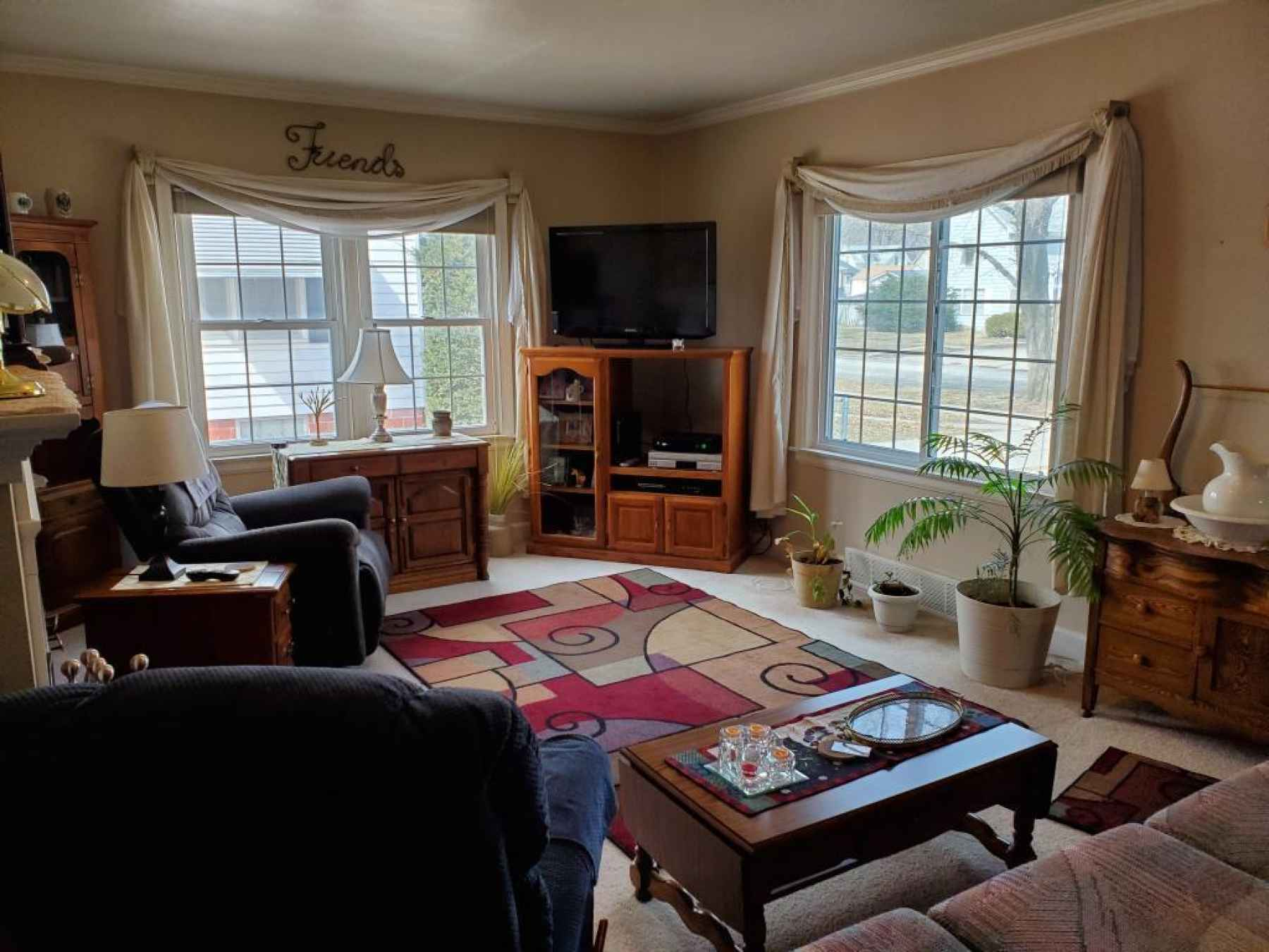 Living room with new windows