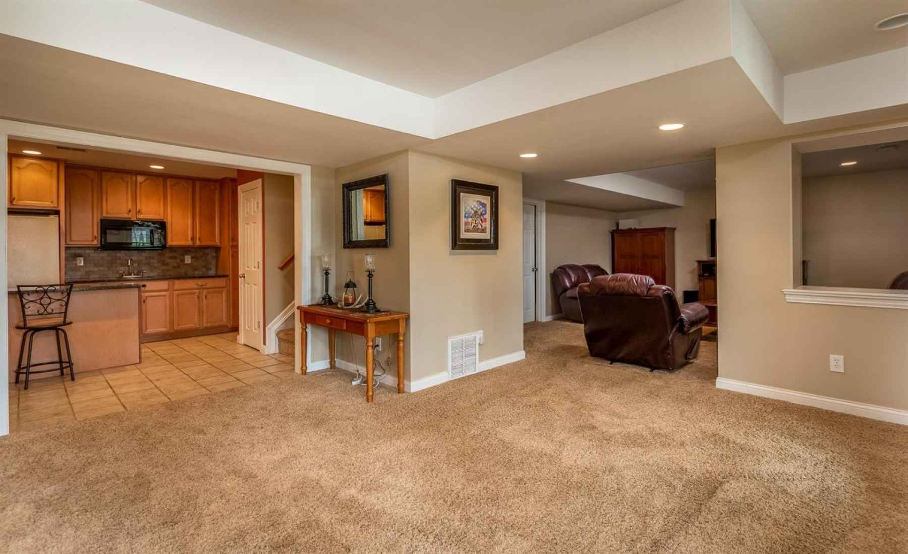 View of finished basement.  Lots of room to relax and entertain