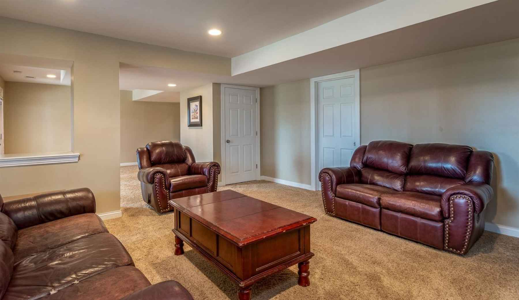 The family room in the basement is so cozy!