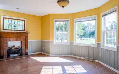 Wainscoting, Gorgeous Flooring, and Fireplace