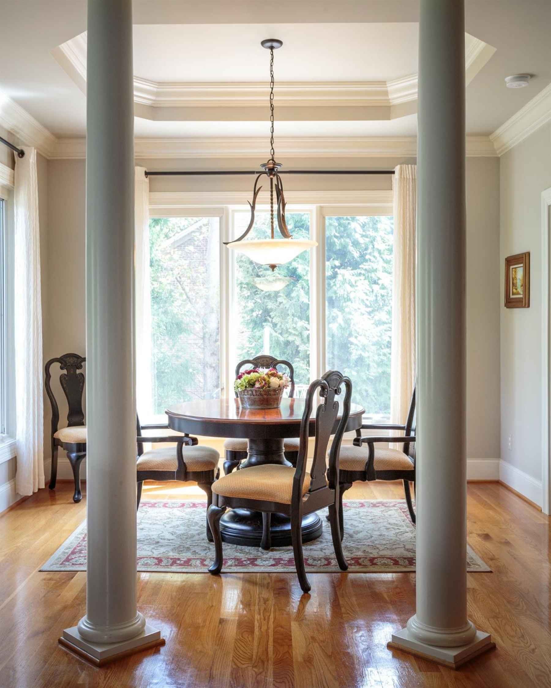 Breakfast area opens to kitchen and family room. Off of the breakfast area you will find the Study with private bath.