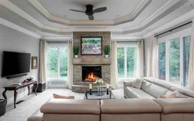 Family Room with large picturesque windows.