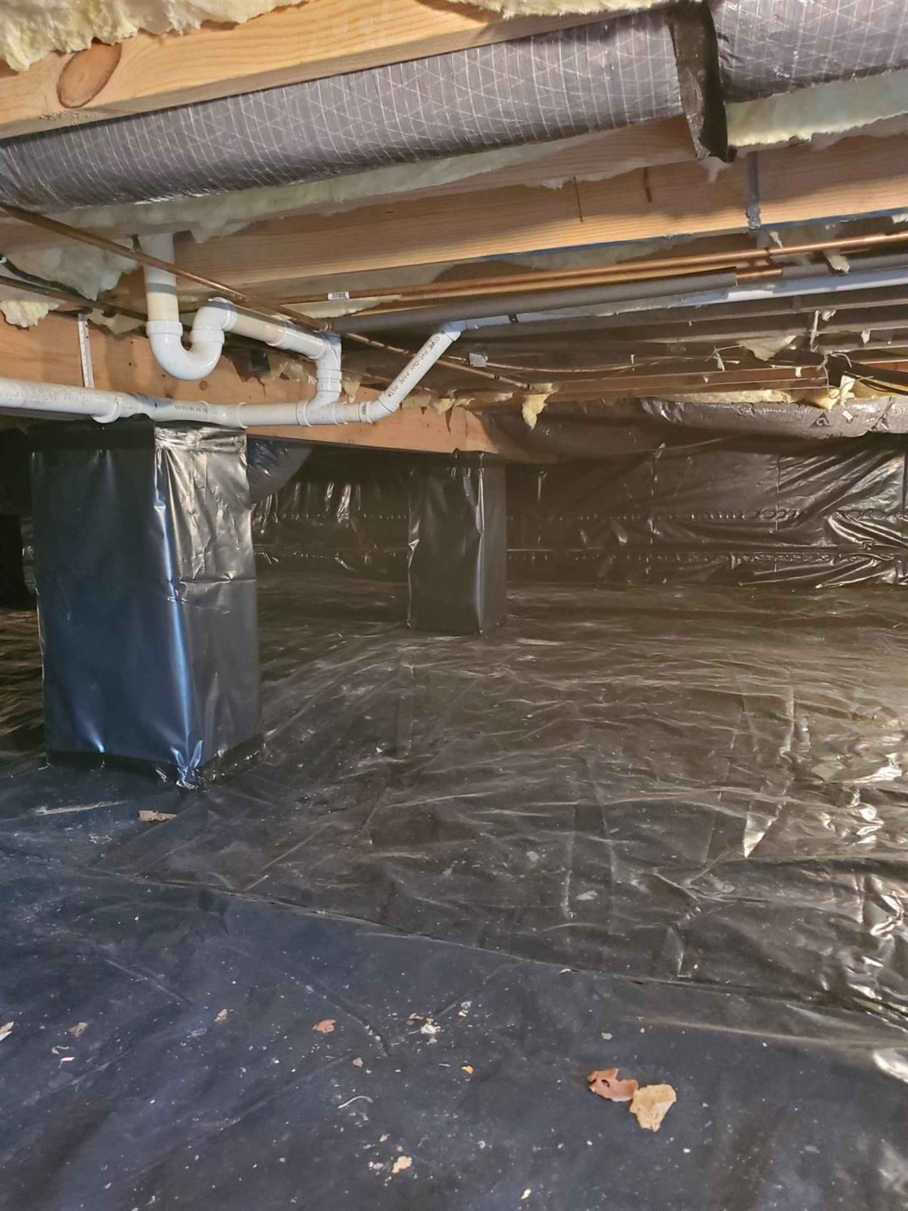 Conditioned crawlspace. Both heating system and two 47 gallon hot water heaters are located in the crawlspace.