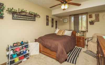 The lower level bedroom is of good size and offers neutral colors