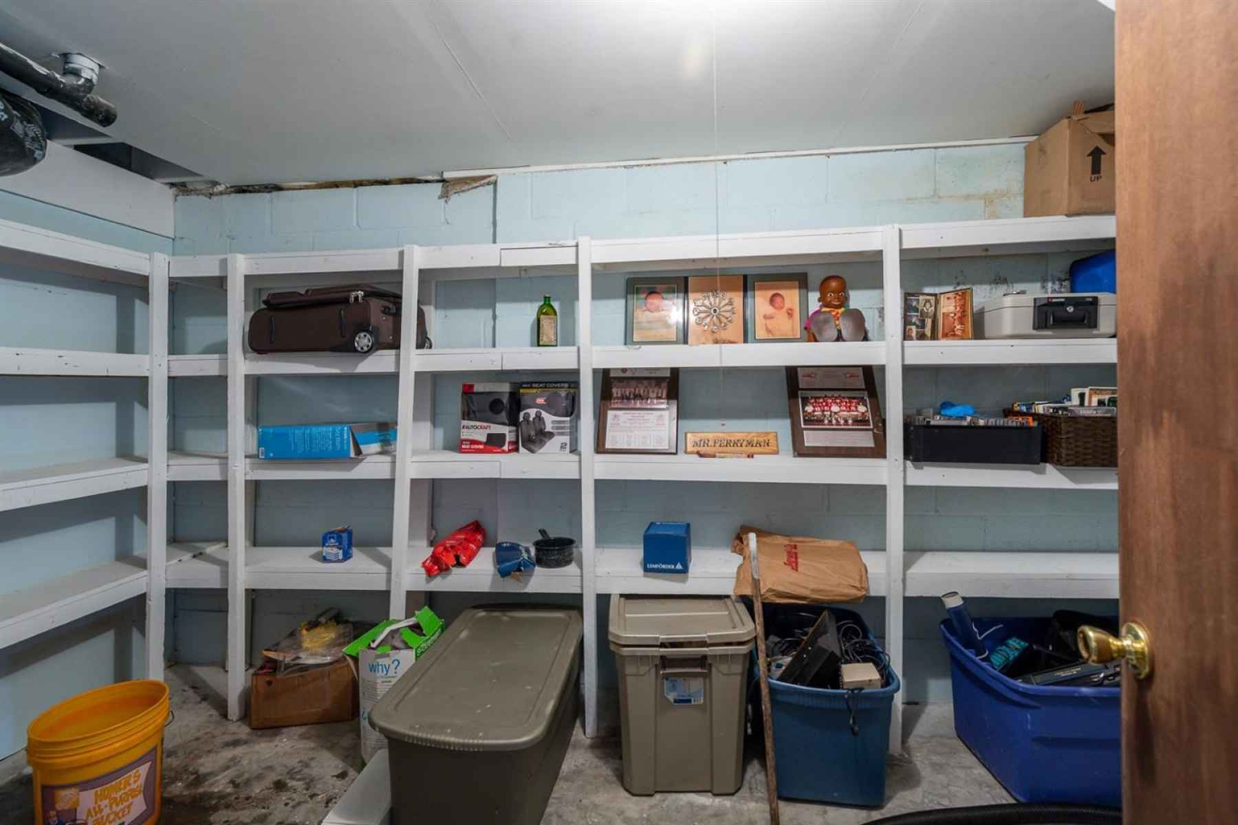 There is tons of storage in this home. There are three unfinished areas to do just that