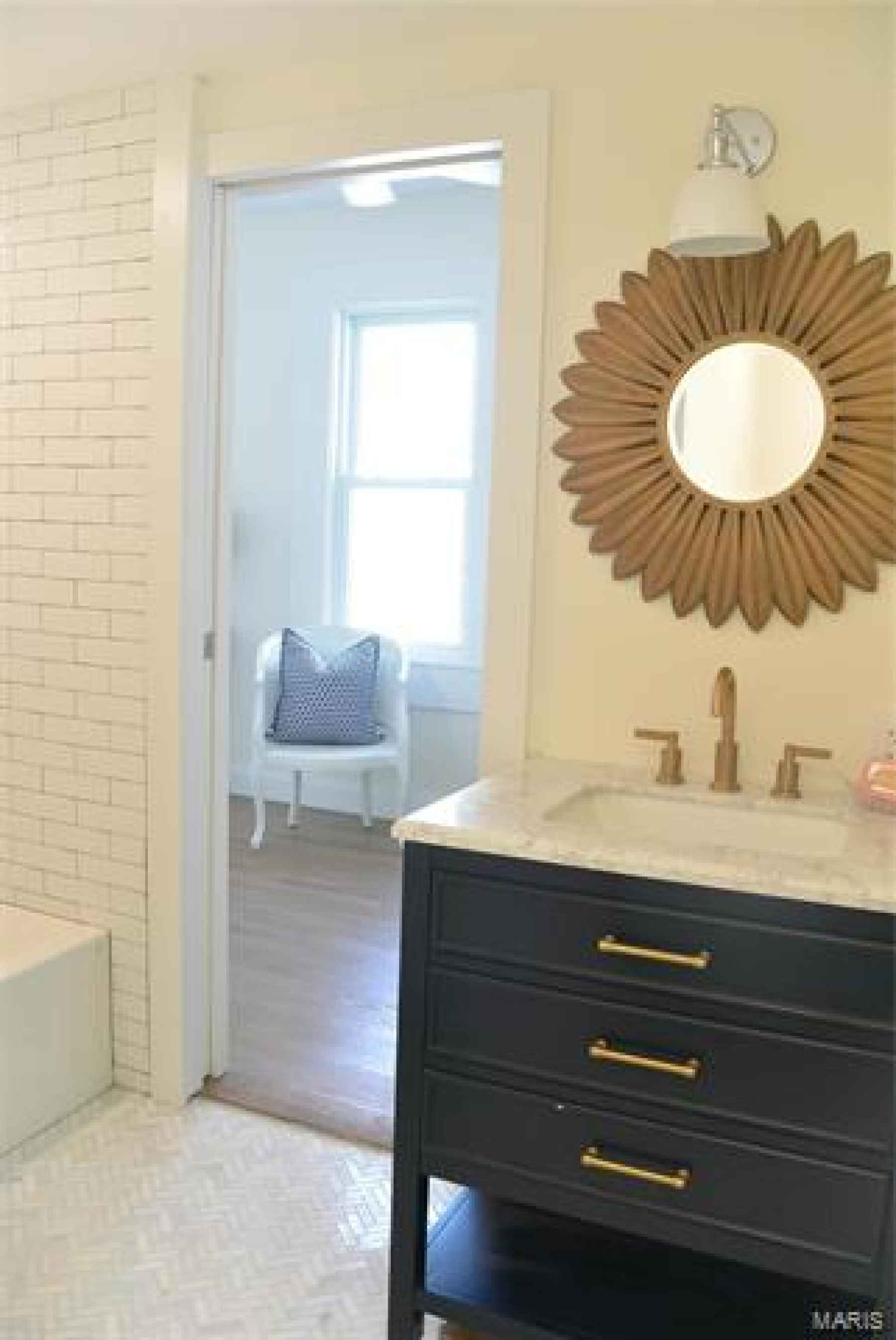 All new first floor master bath with marble floor, subway tile shower/tb and marble 30