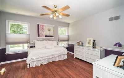 Roomy cheerful bedroom with fan and closet organizer.