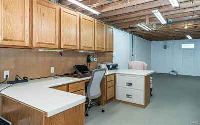 Office located in Newly painted partially Basement part of basement.