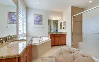 Master double sinks and walk in shower and garden tub!