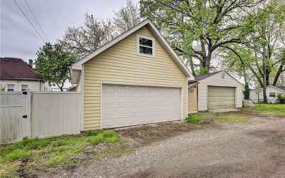 Detached two-car garage with attic space.