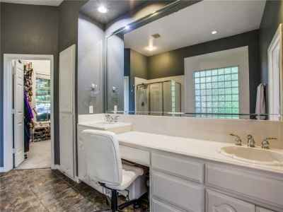 Double sinks in master bath with large walk-in closet