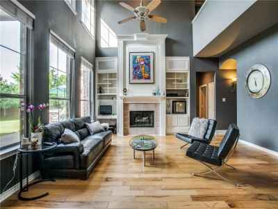 Two-story high ceilings in the family room and great backyard views