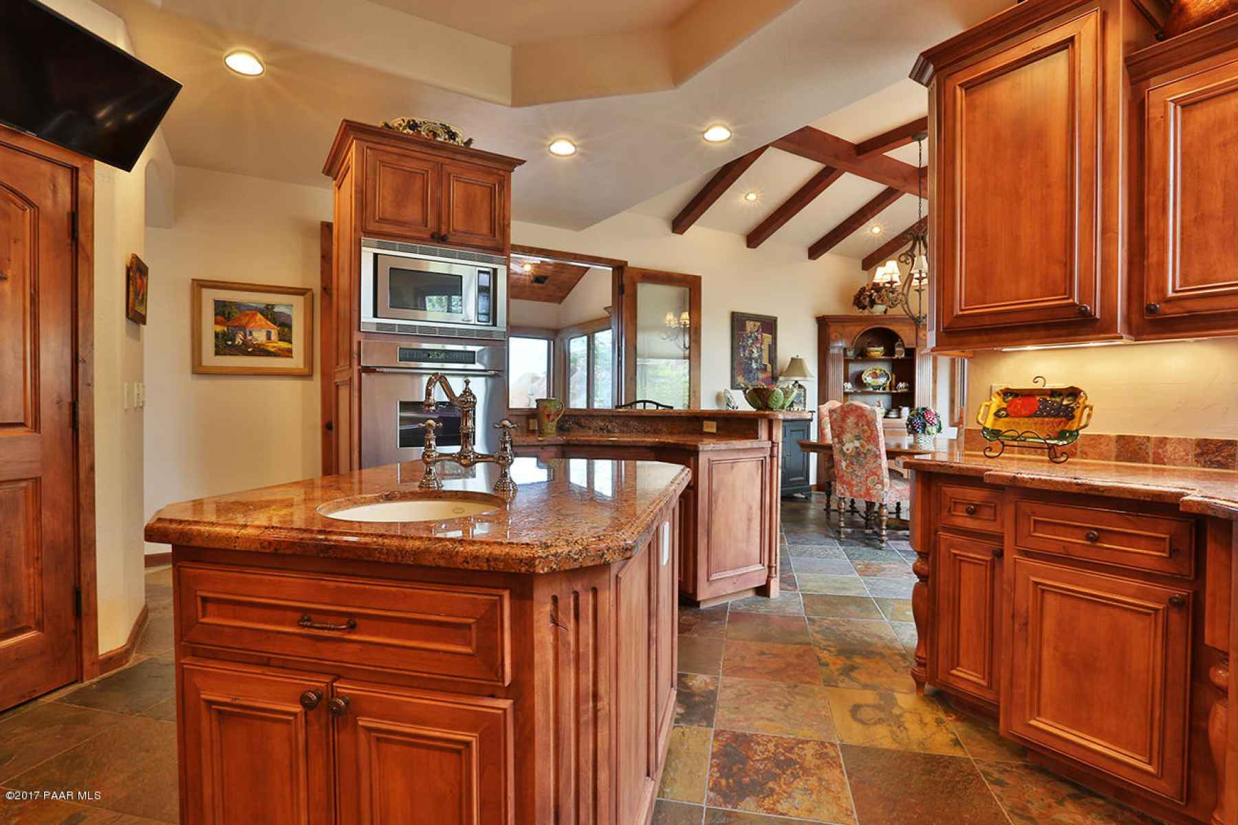 Kitchen flows to dining room