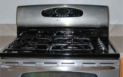 stainless double over gas range with mic