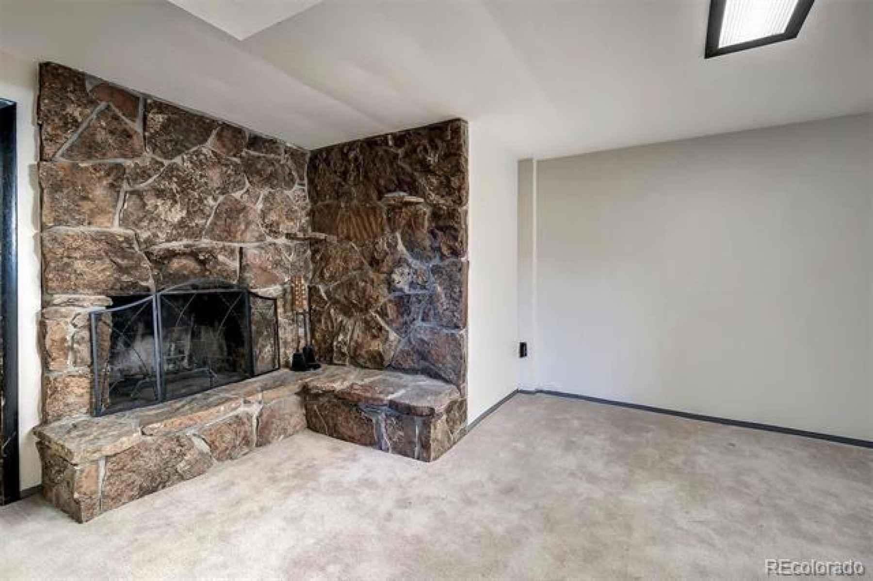 basement fireplace is operational