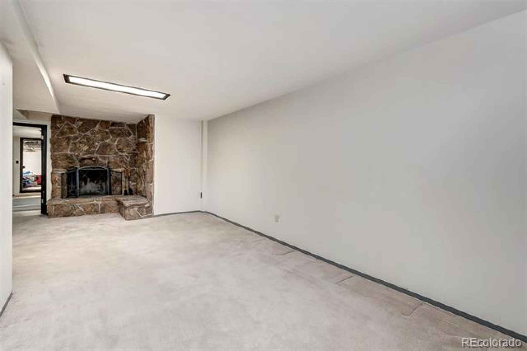 large open family room area in the basement